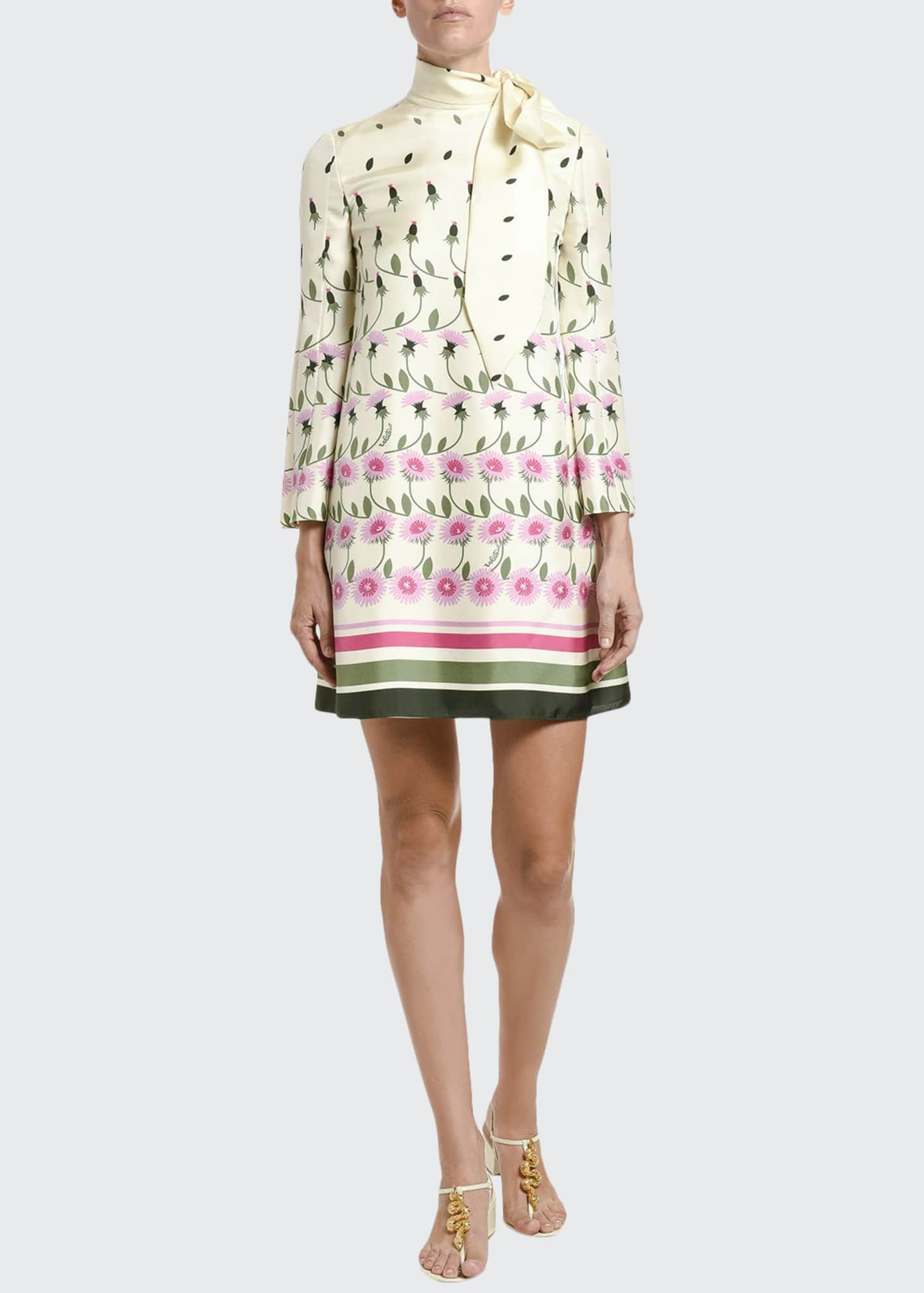 Image 1 of 4: Floral-Print Silk Tie-Neck Shift Dress