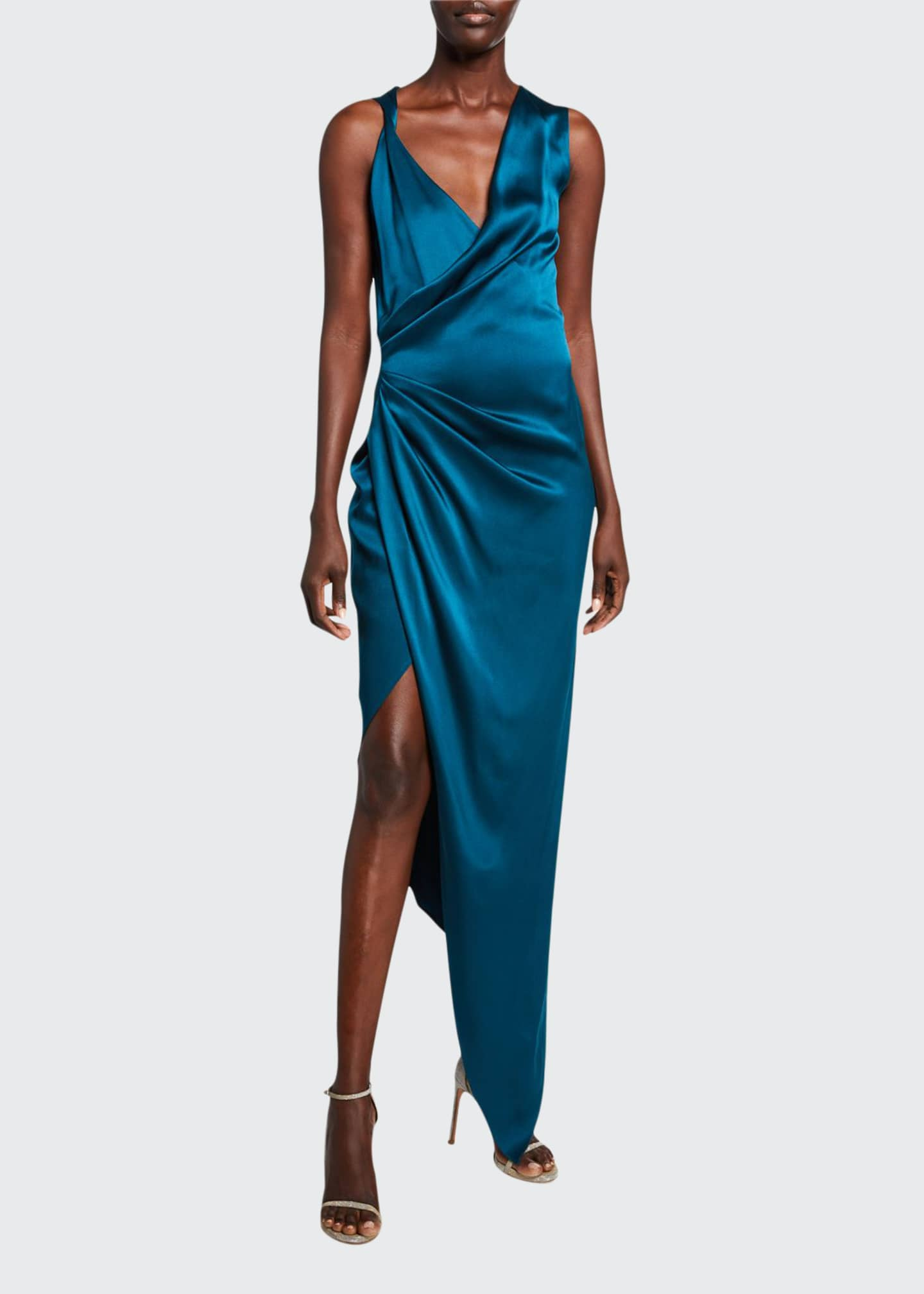 CUSHNIE Draped Charmeuse Deep-V Dress