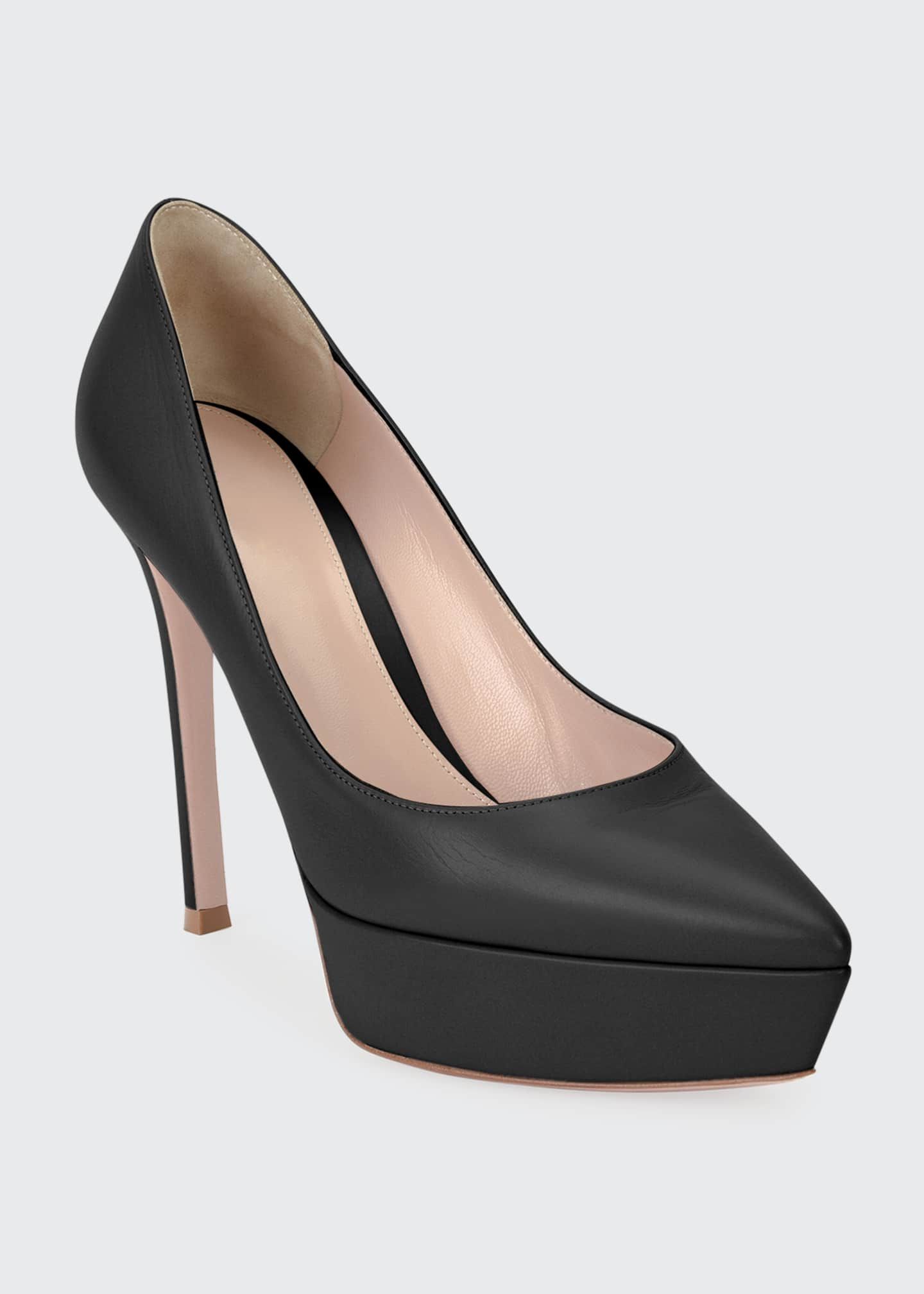 Gianvito Rossi Leather Platform Point-Toe Pump