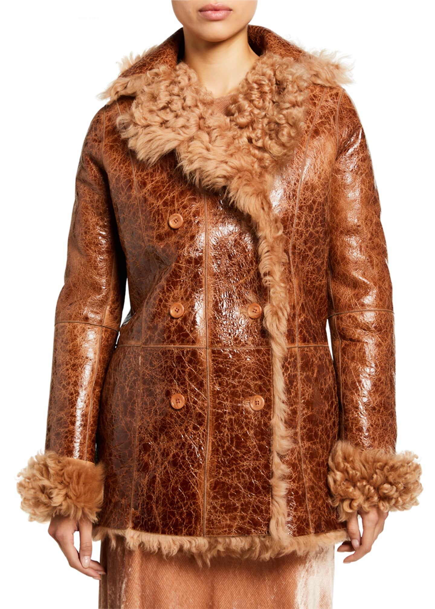 Sies Marjan Shearling Double-Breasted Coat