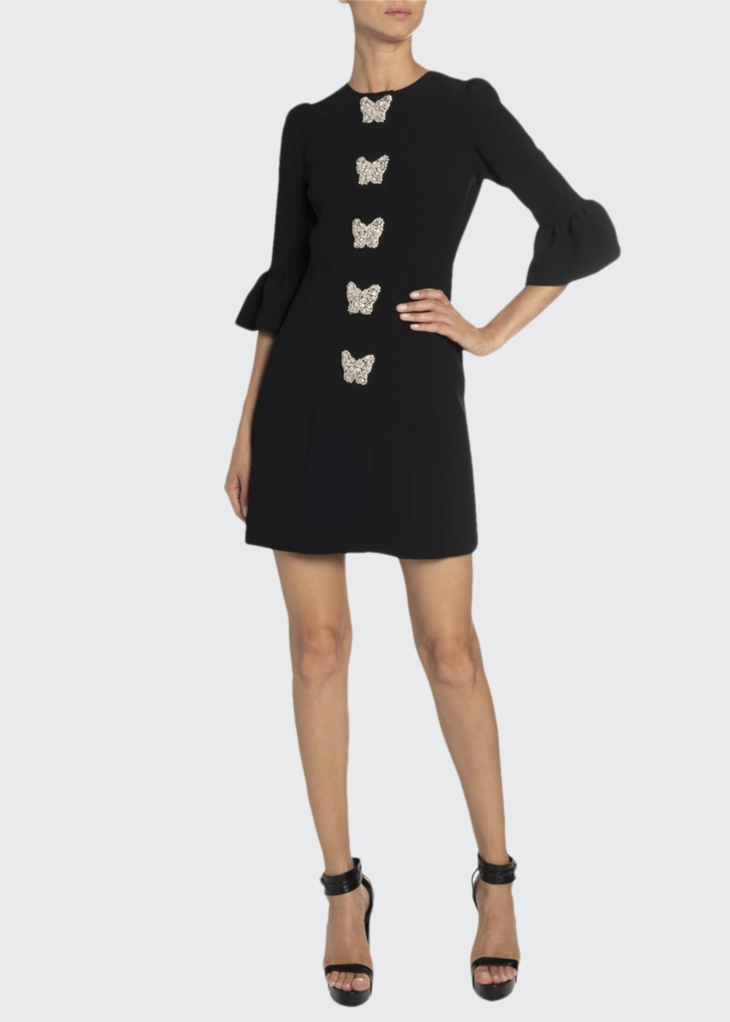Andrew Gn Crystal-Trim Mini Dress