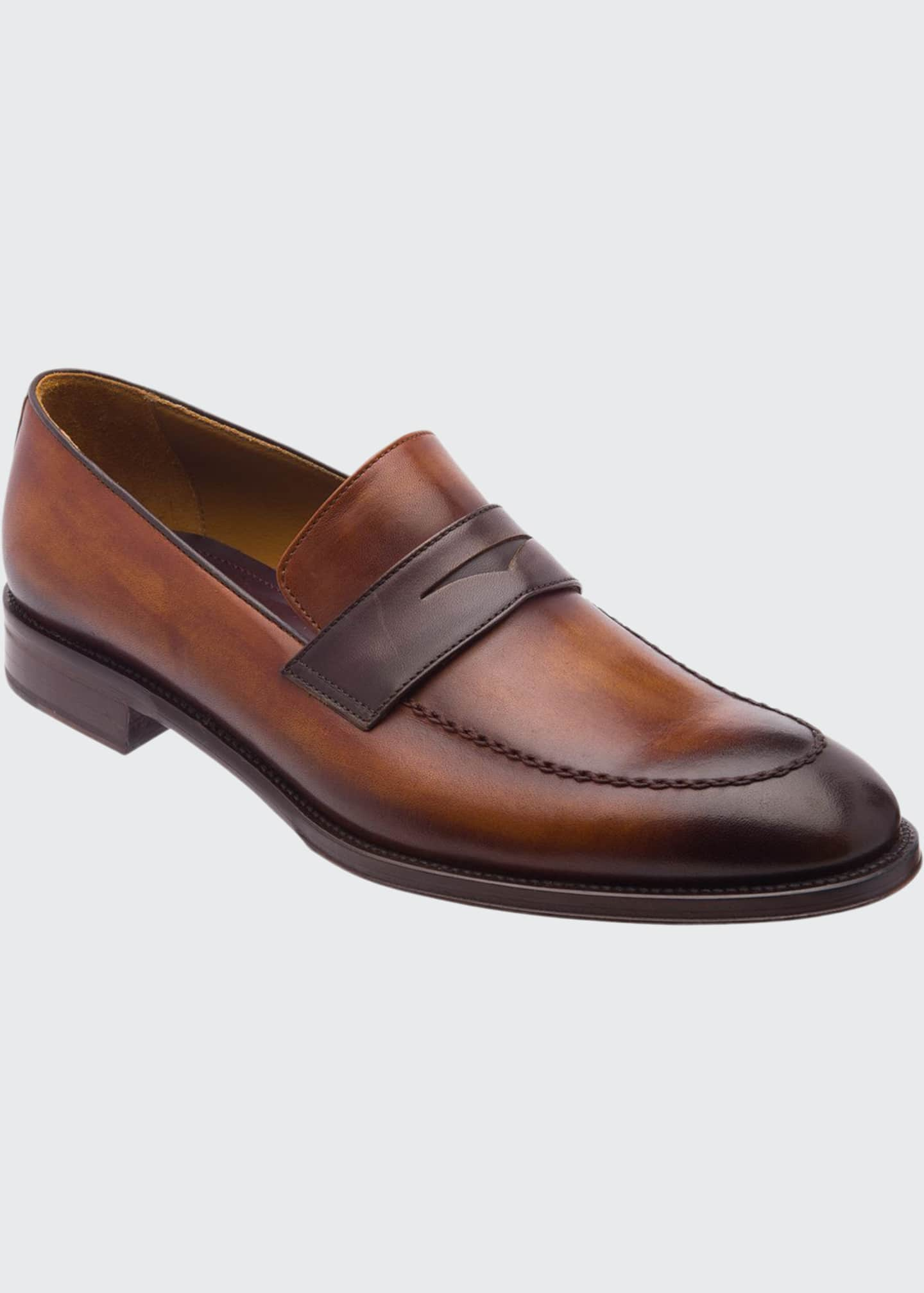 Bruno Magli Men's Arezzo Burnished Leather Penny Loafers