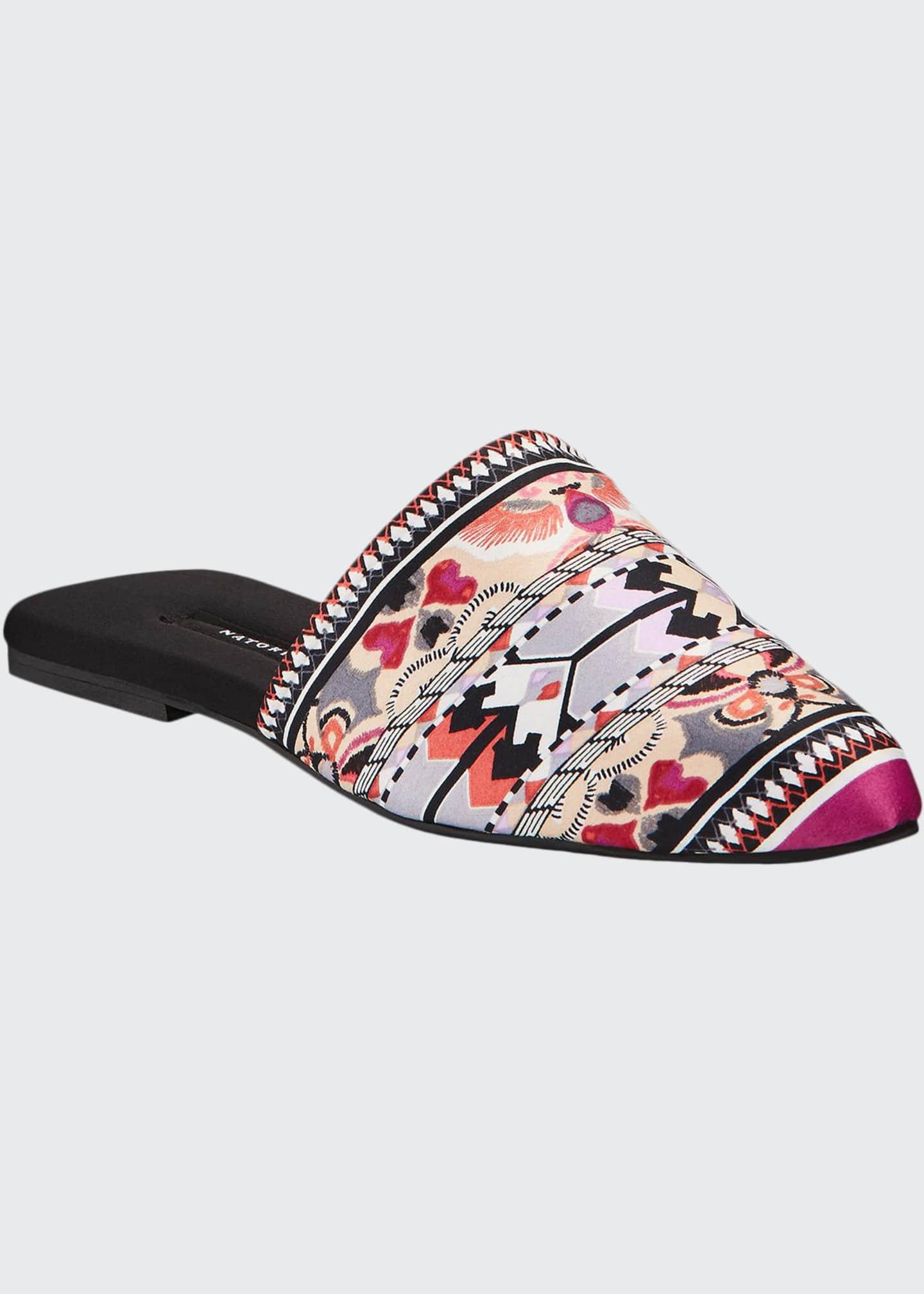 Natori Fusion Printed Satin Mule Slippers