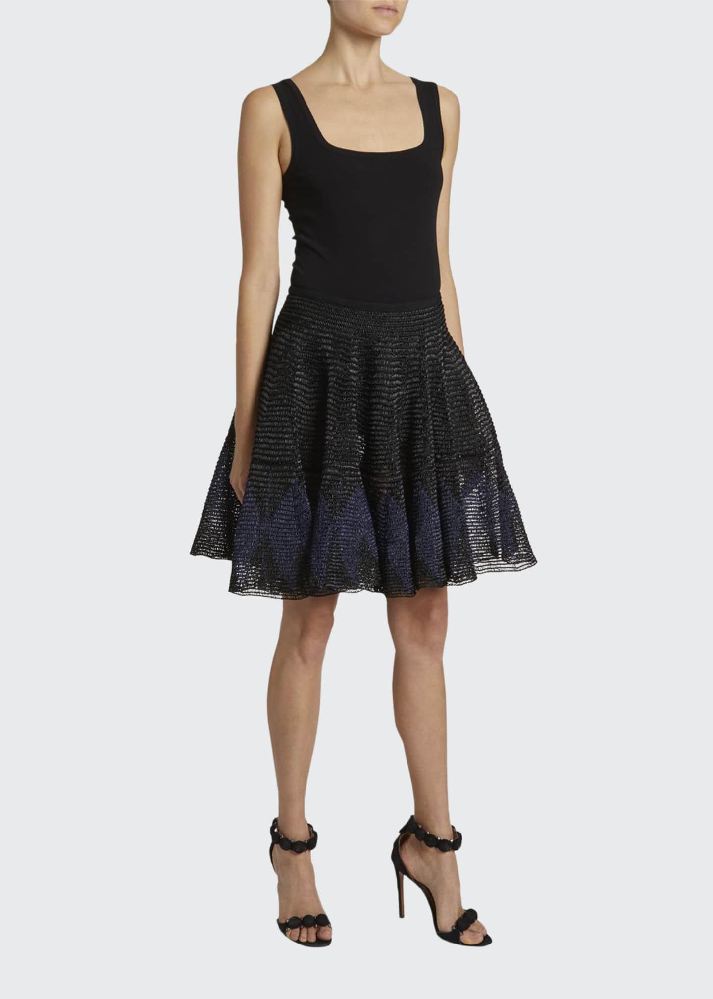 ALAIA Textured Poplin Flounce Skirt