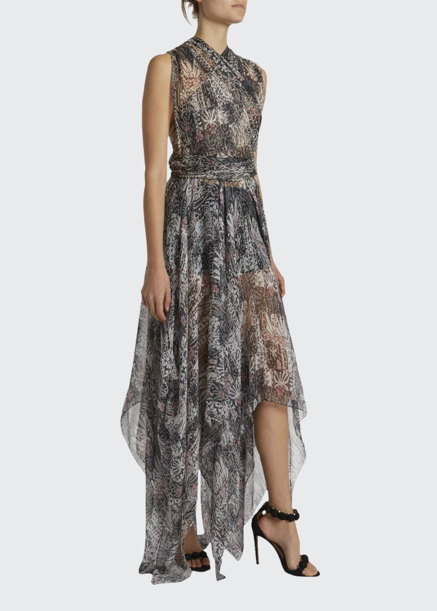 Image 1 of 2: Floral Print Gauzy Halter-Neck Gown