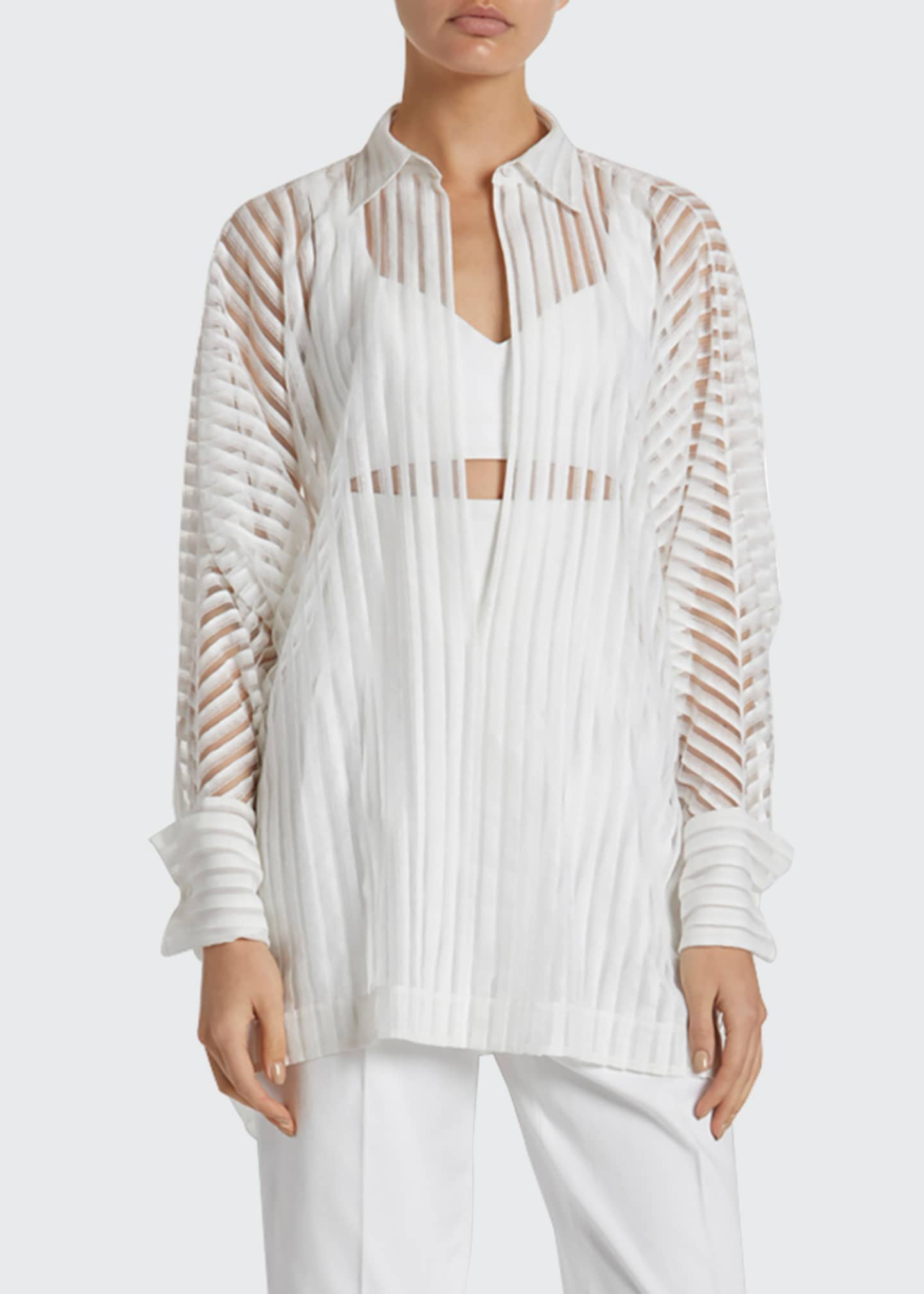 ALAIA Sheer-Striped Oversized Button-Front Shirt