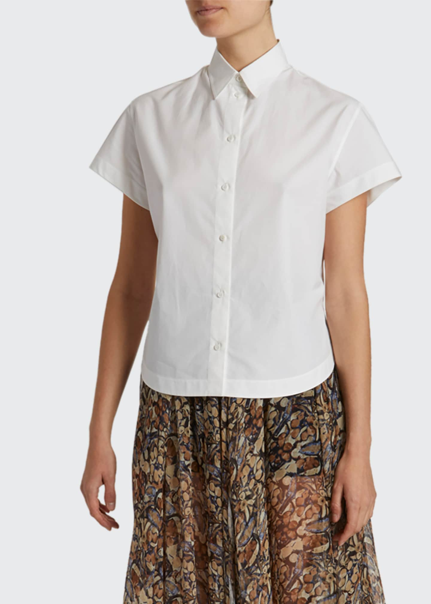 ALAIA Poplin Short-Sleeve Button-Front Shirt