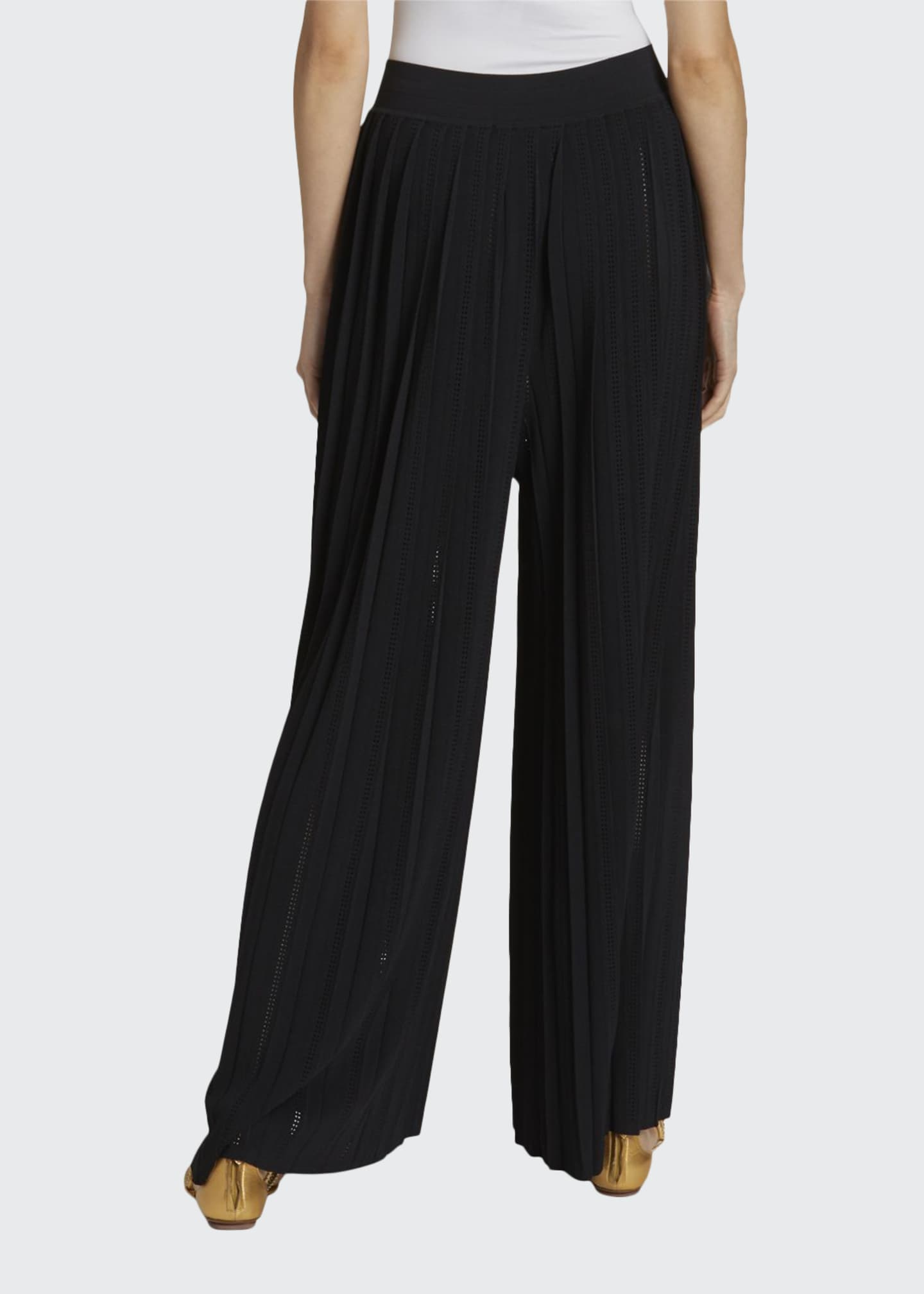 Image 1 of 3: Plisse Wide-Leg Trousers