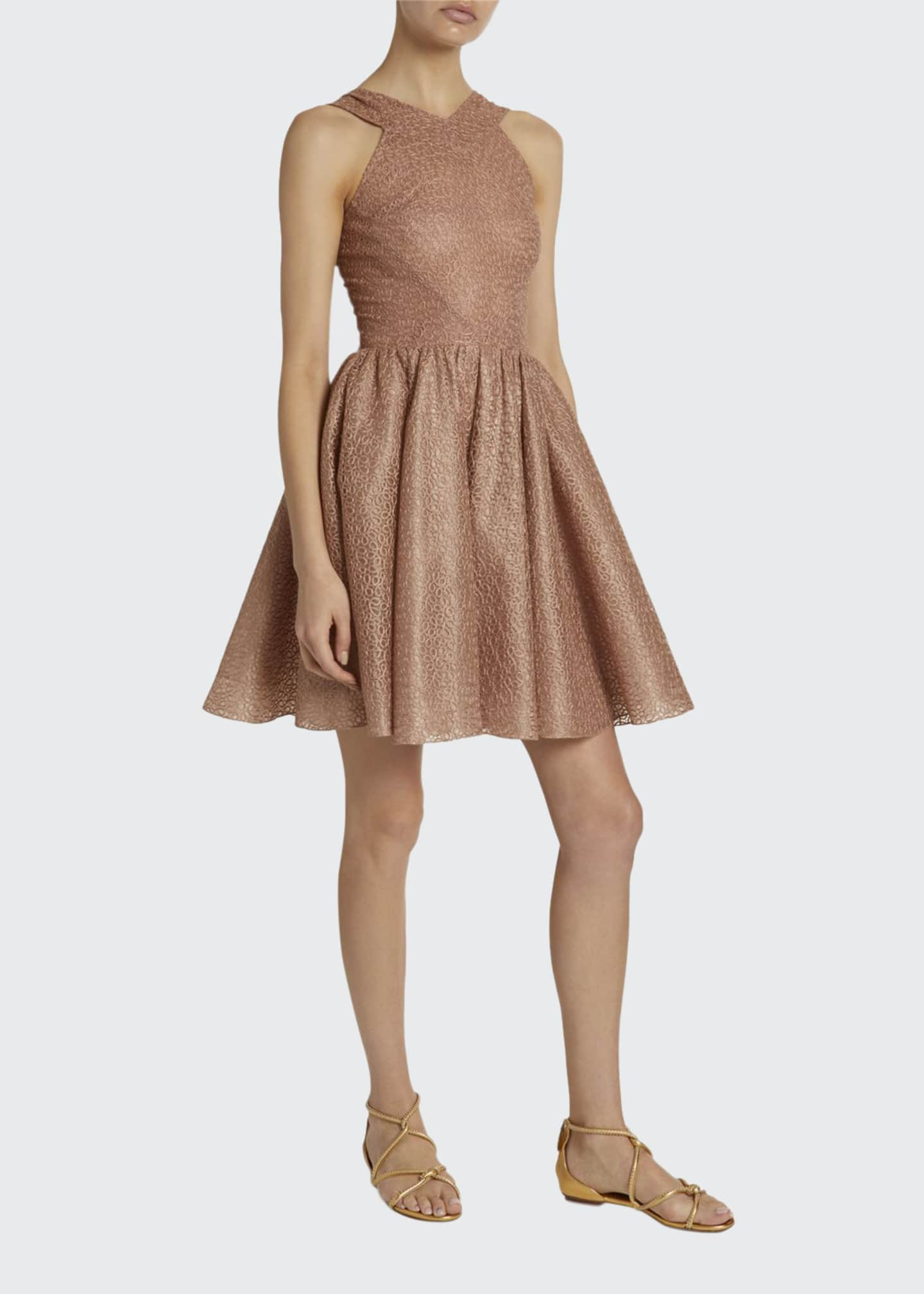 ALAIA Macrame Halter-Neck Fit & Flare Dress