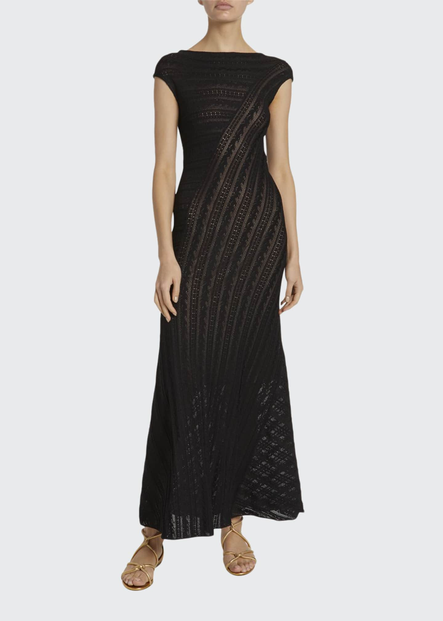ALAIA Lace-Striped Cap-Sleeve Midi Dress