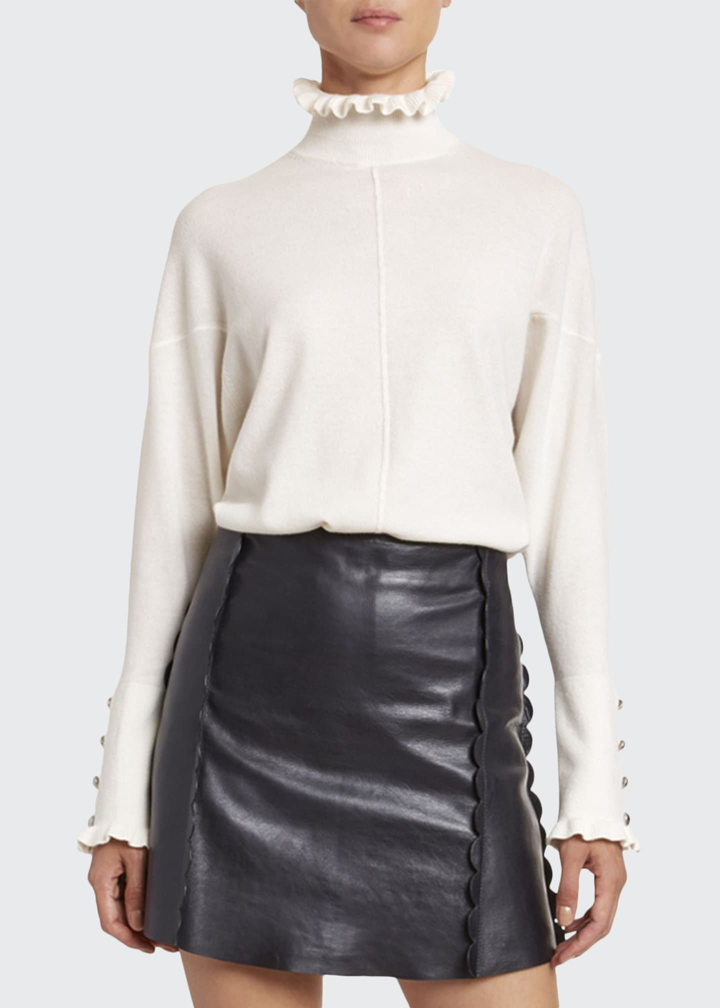 Chloe Iconic Cashmere Frill-Trim Sweater