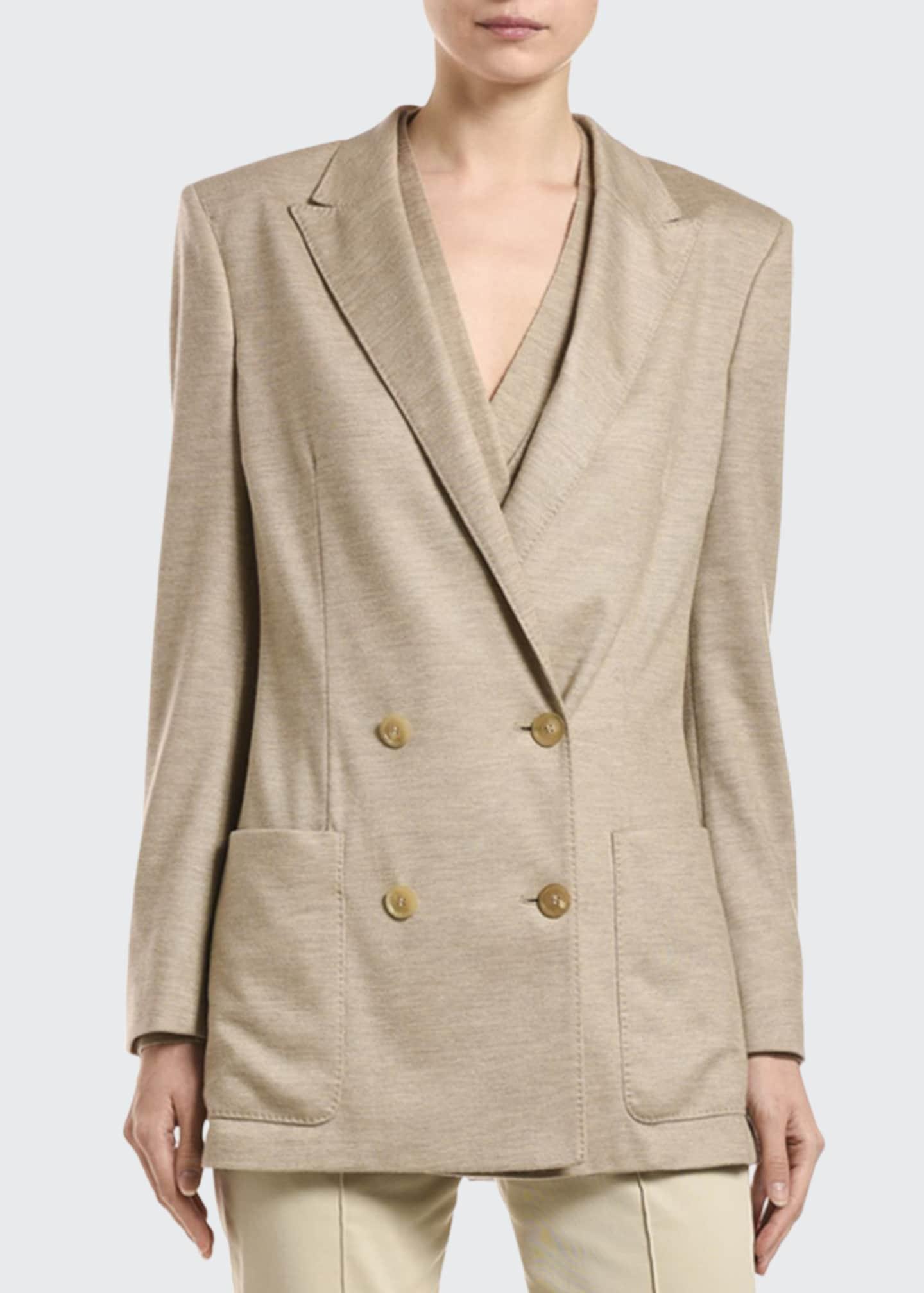 Agnona Cashmere Pique Double-Breasted Jacket