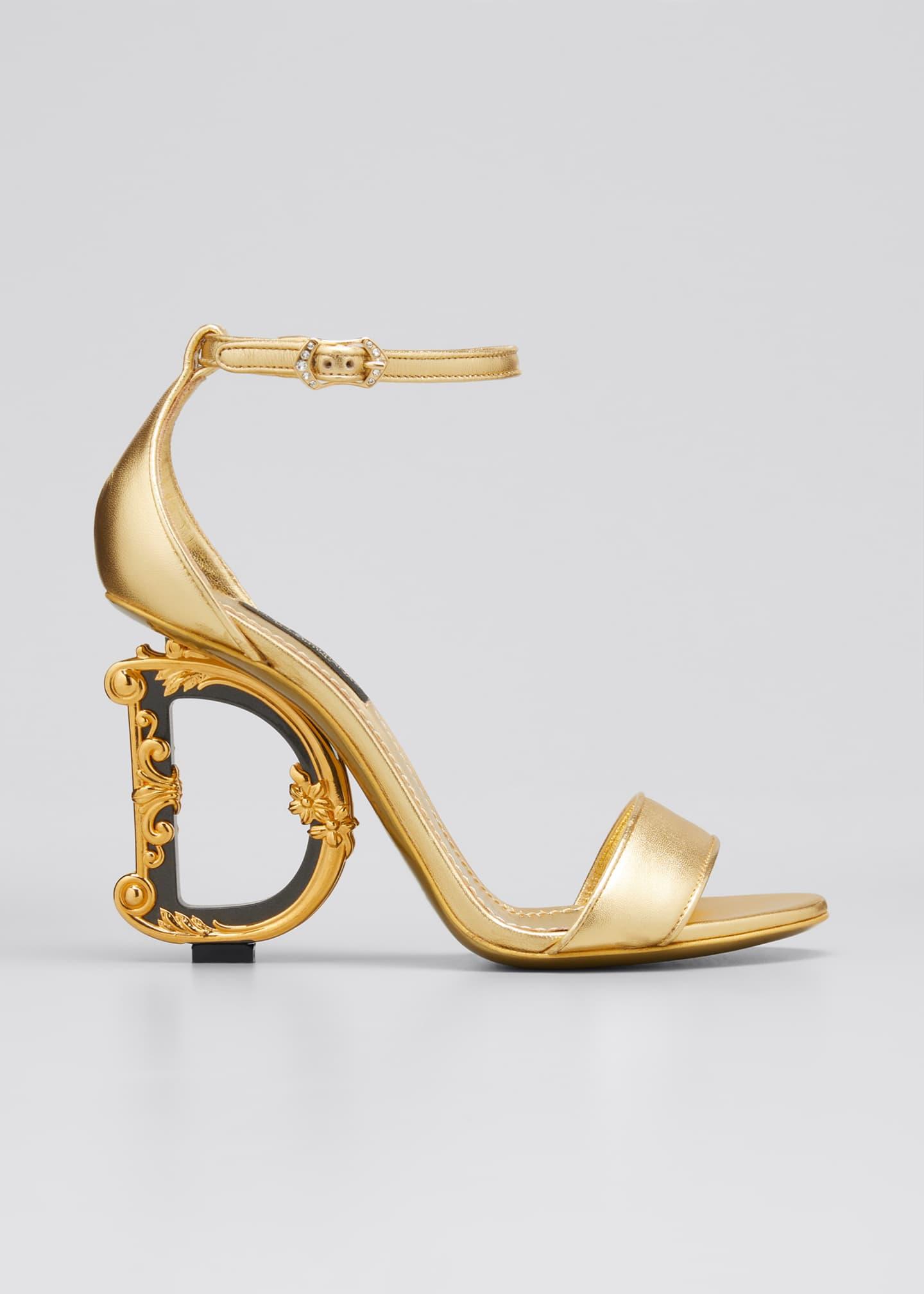 Dolce & Gabbana Metallic Fabric Sandals with Logo