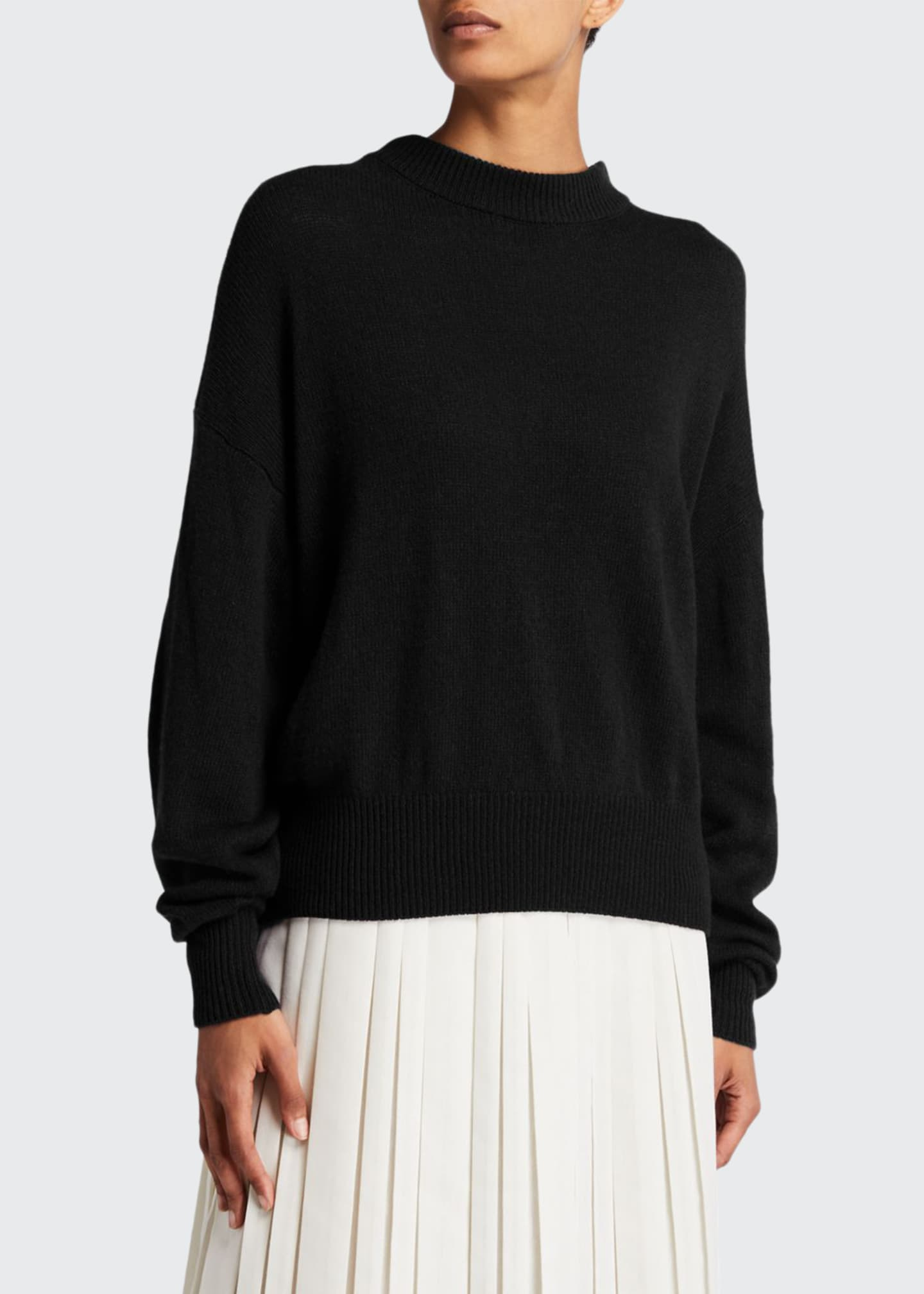 Image 1 of 2: Ophelia Knit Cashmere Drop-Shoulder Sweater