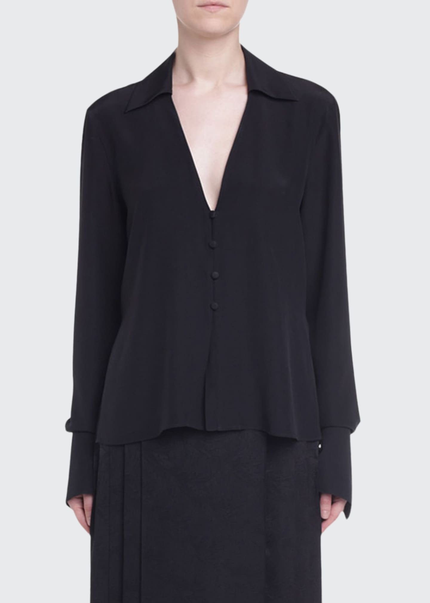 Image 1 of 2: V-Neck Crepe de Chine Blouse