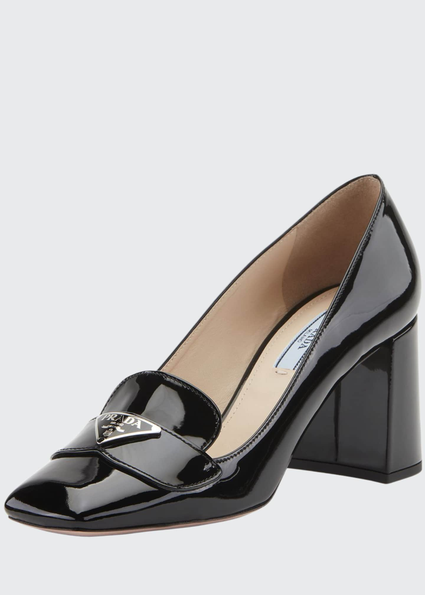 Prada Patent Logo Loafer Pumps