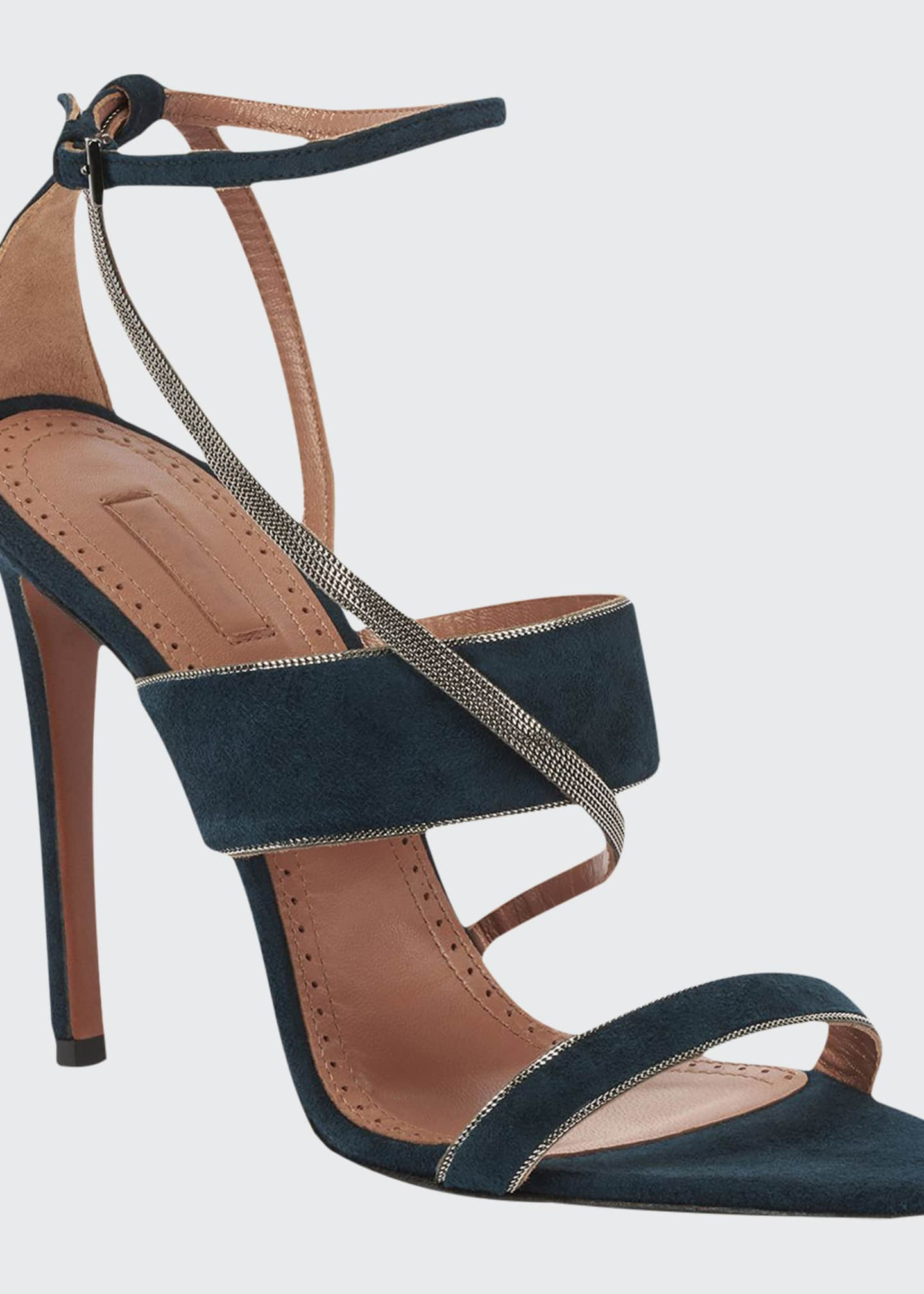 ALAIA Suede Chain Ankle-Strap Sandals