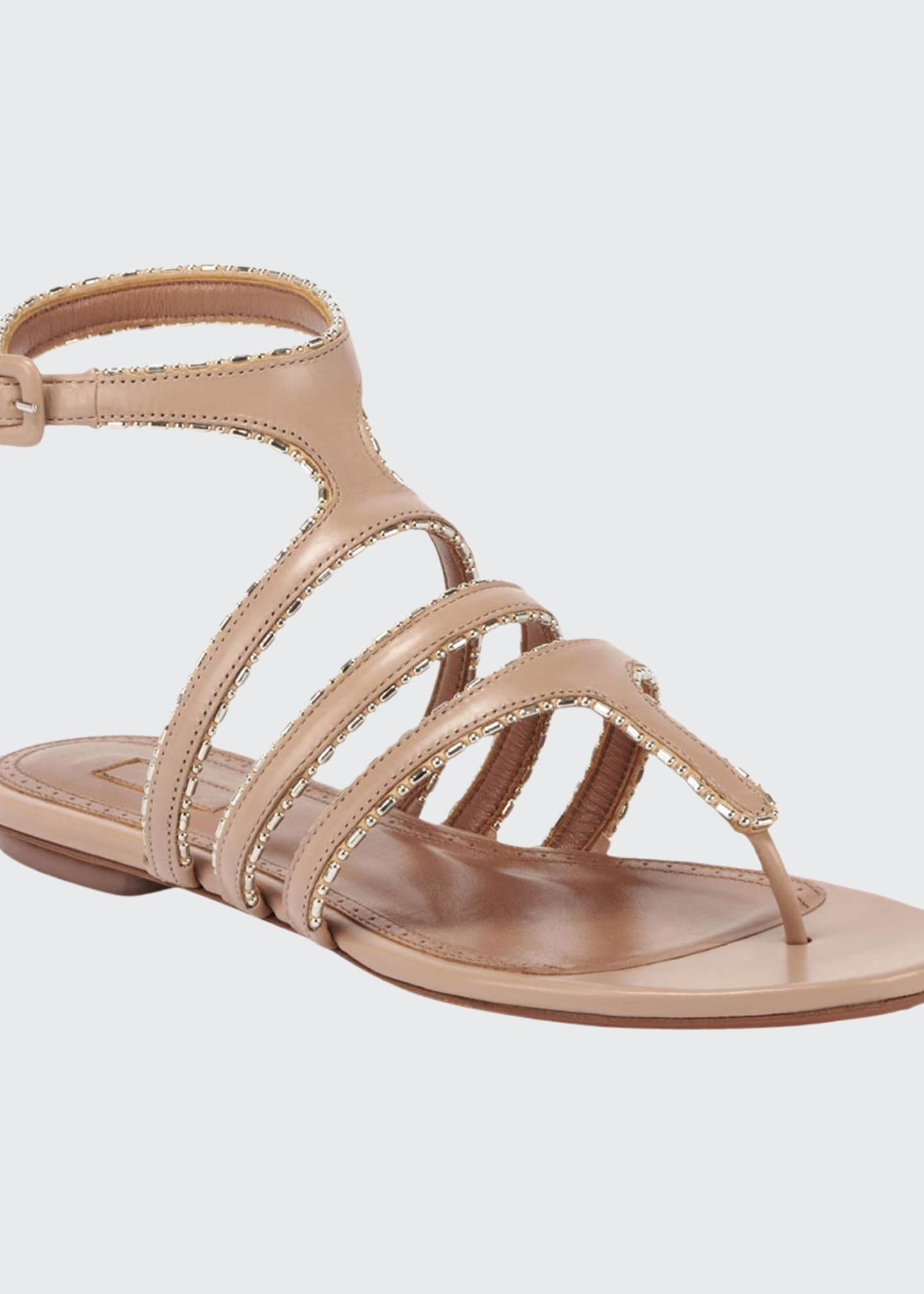 ALAIA Leather Beaded Caged Sandals