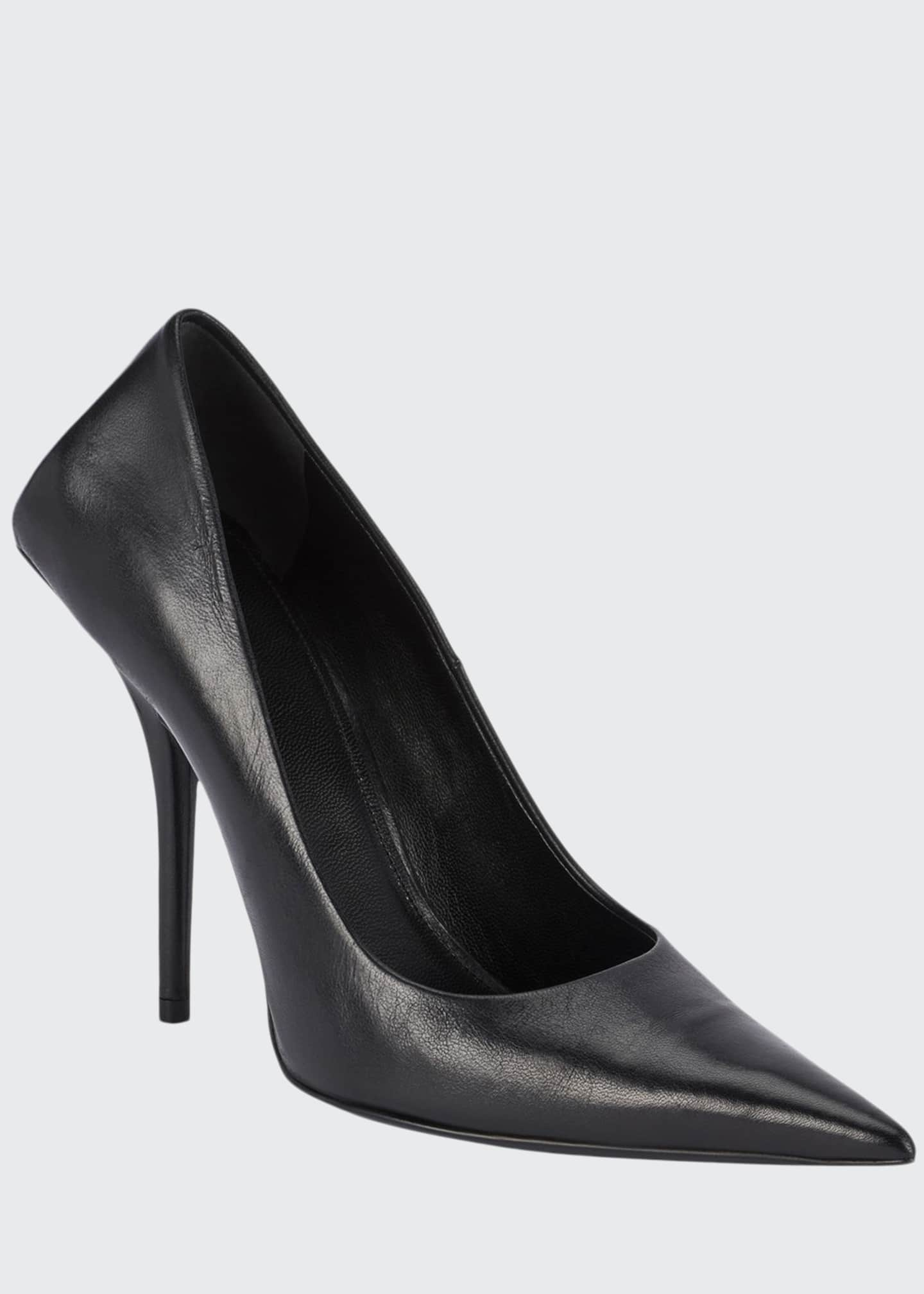 Balenciaga 80mm Square-Back Lambskin Knife Pumps