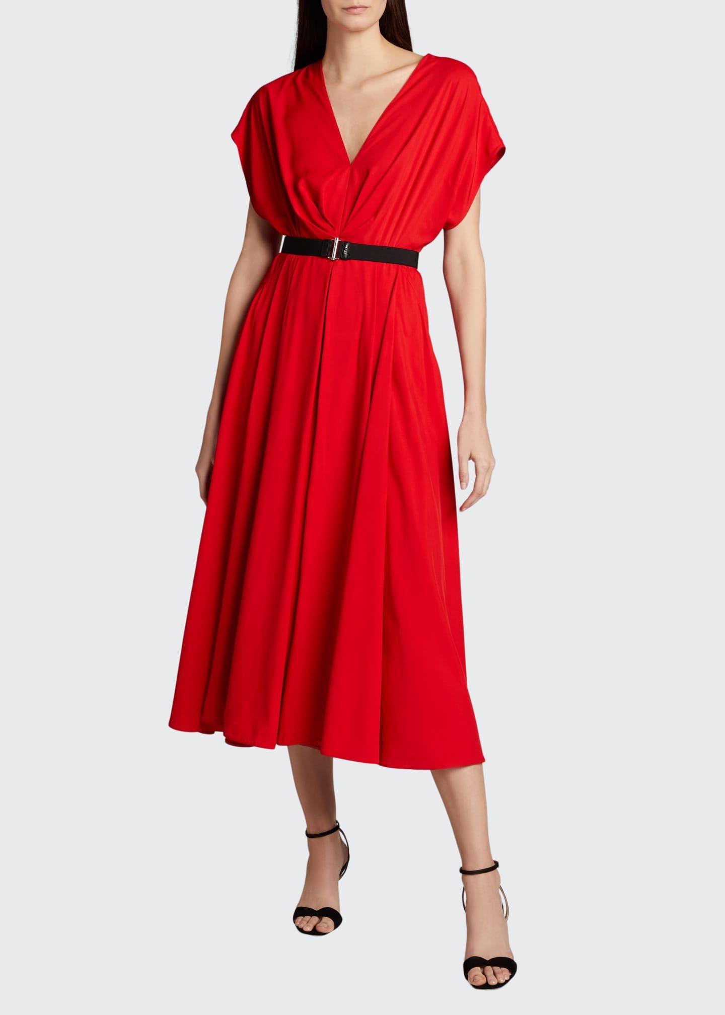 Prada Belted Fluid-Twill Midi Dress