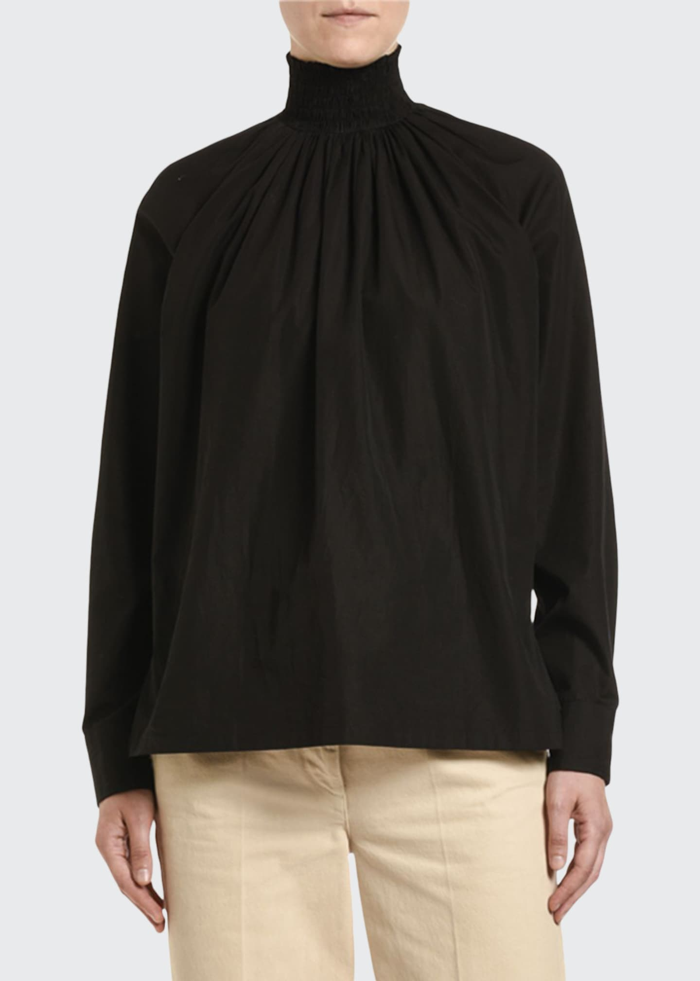 Prada Egypt Compact Poplin Smocked Turtleneck Blouse