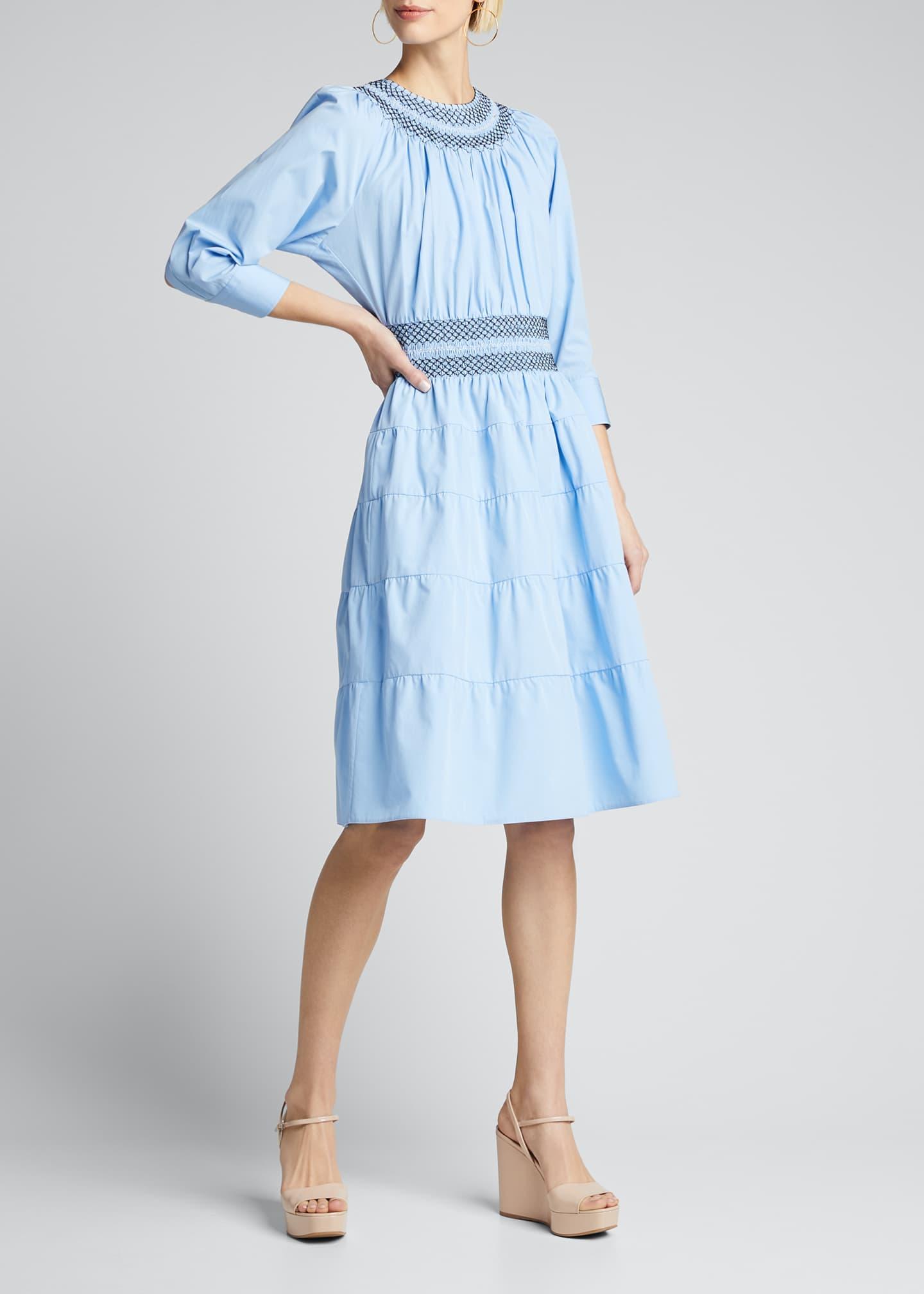 Prada Compact Poplin Smocked Tiered-Skirt Dress