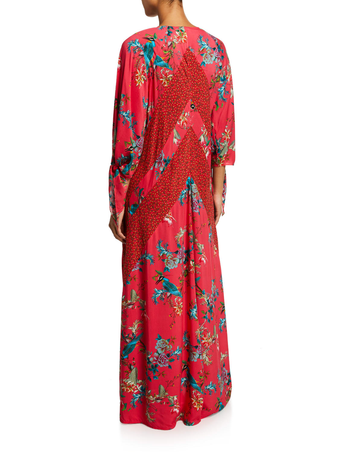 JOHNNY WAS Ties MALAKYE PANELED FLORAL-PRINT MAXI COVERUP