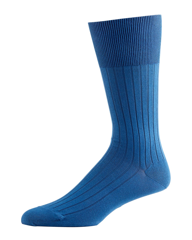 Rib-Knit Cotton Socks