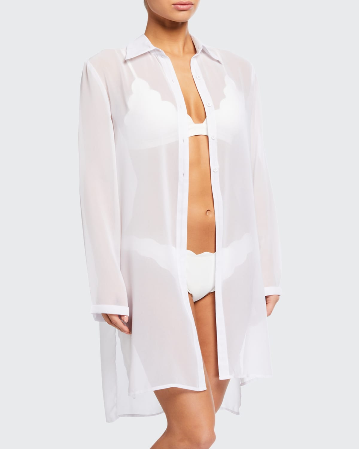 Tropical Coast Sheer Button-Front Coverup
