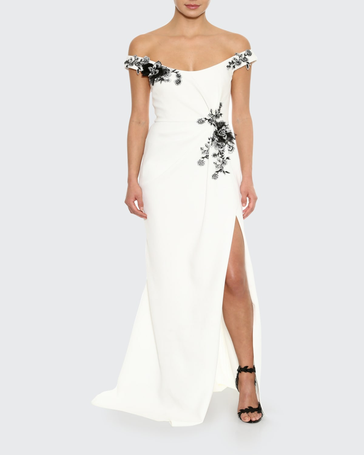 Dahlia-Embroidered Crepe Off-the-Shoulder Gown