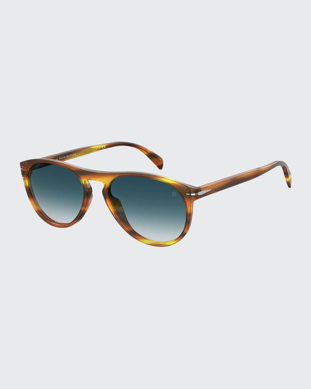 Men's Havana Acetate Round Gradient Sunglasses