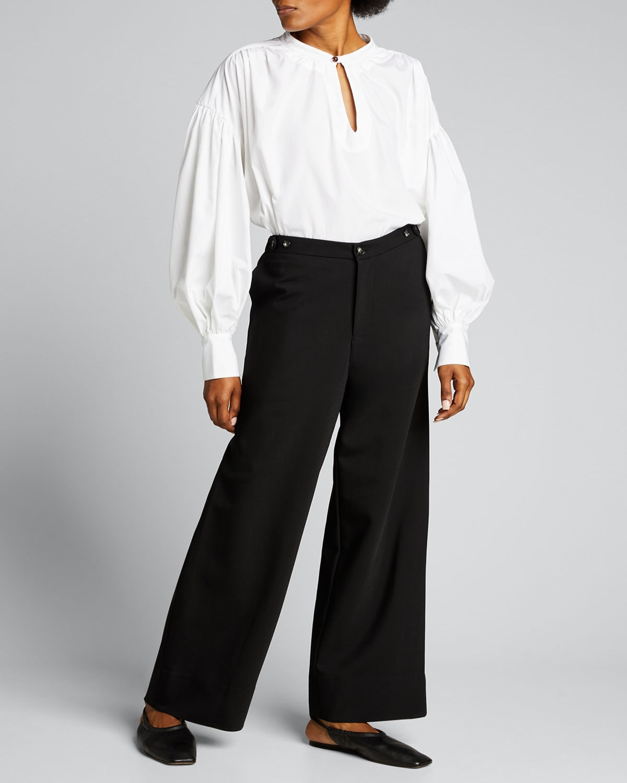 Button-Detail Slouch Pants
