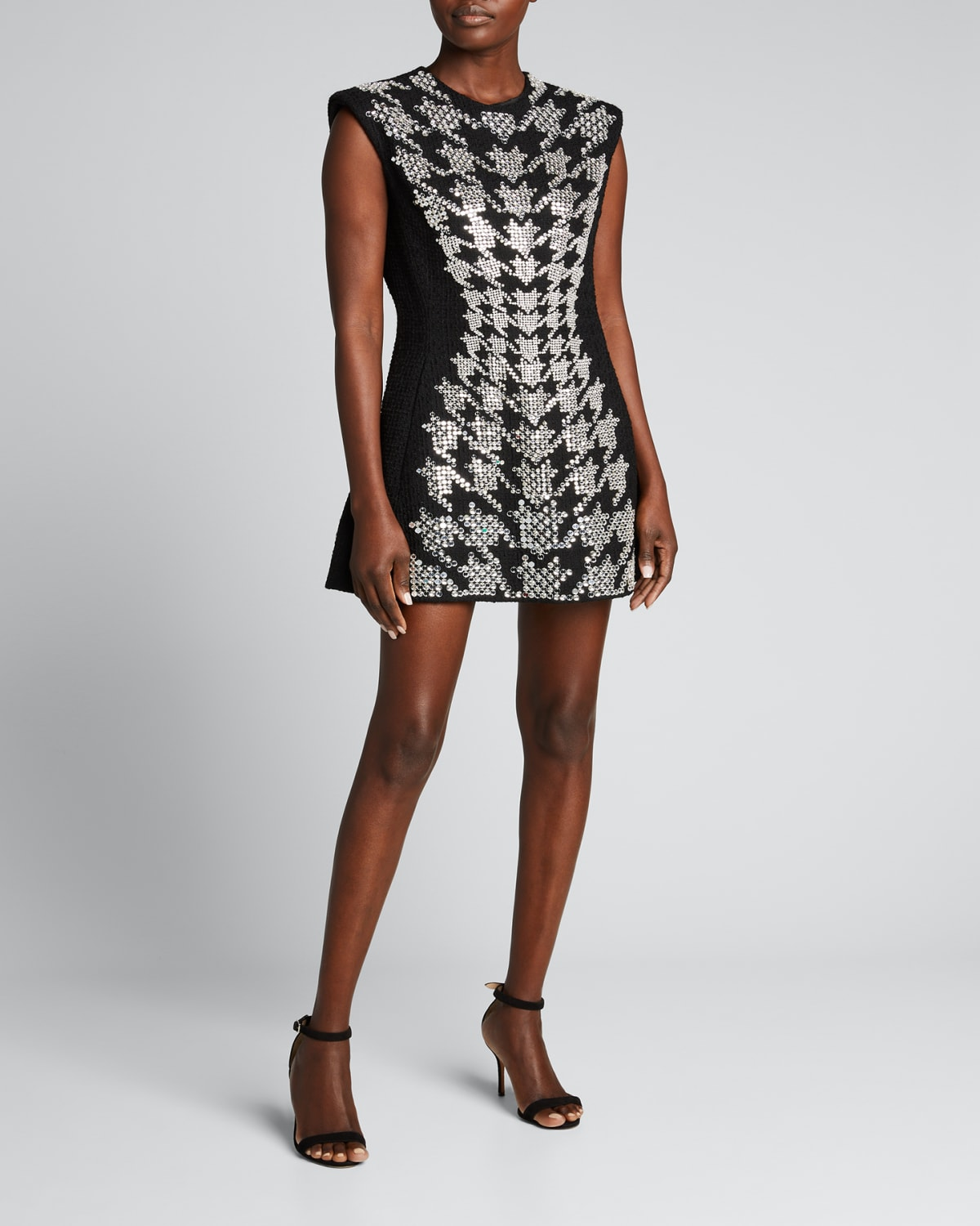Embroidered Houndstooth Mini Dress