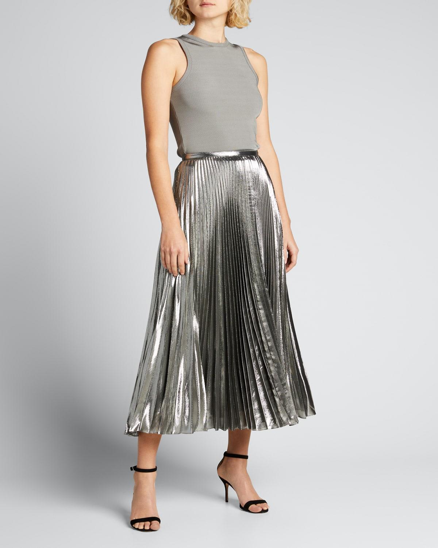 Pleated Lame Midi Skirt