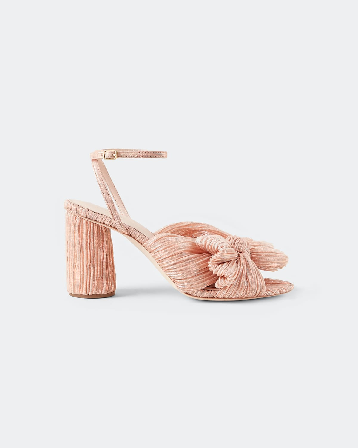 Camellia Metallic Knot Ankle-Strap Sandals