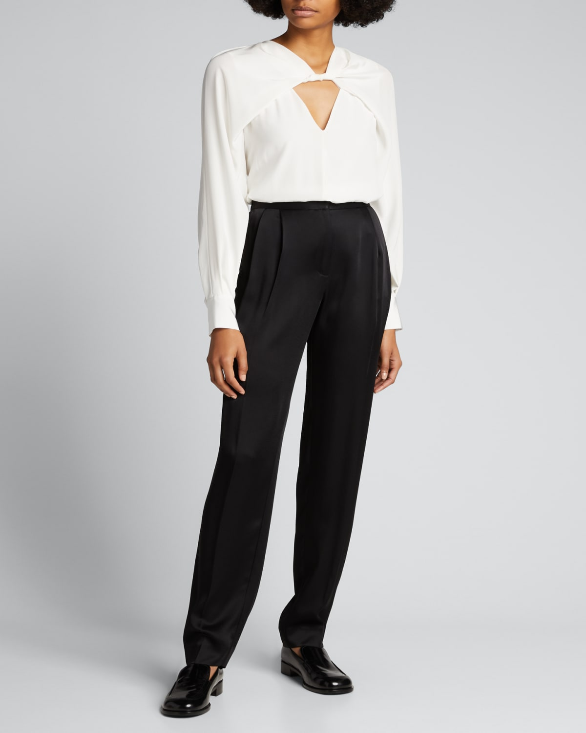Twisted Front Cutout Silk Blouse