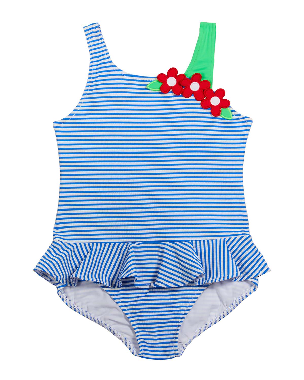 Girl's Seersucker Floral Applique One-Piece Swimsuit