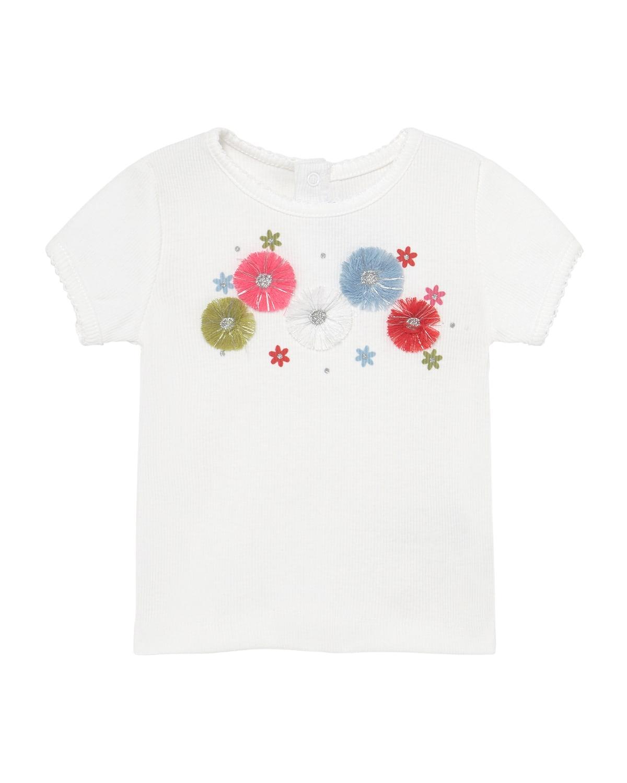 Girl's 3D Flower Short-Sleeve T-Shirt