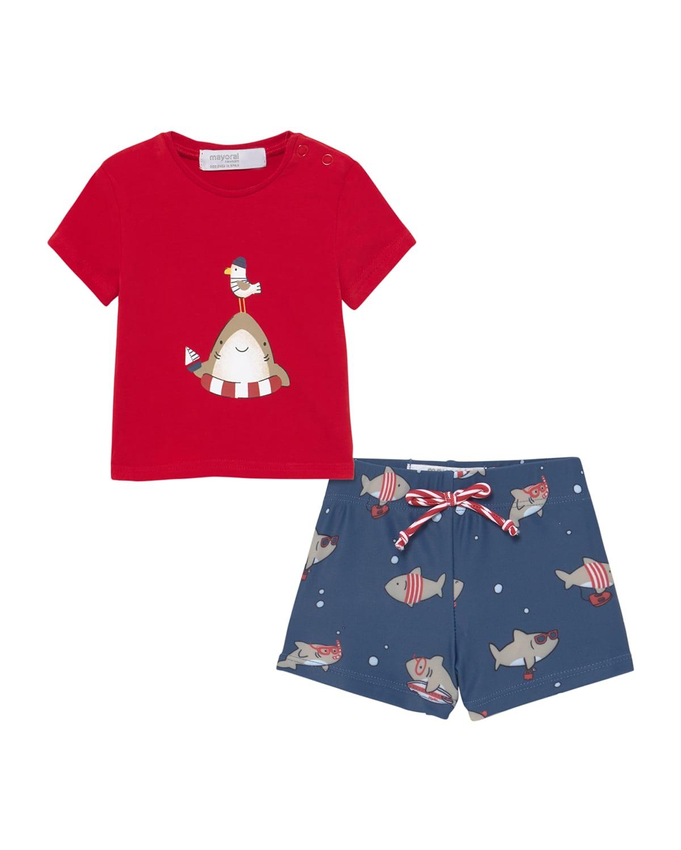Boy's Baby Shark-Print T-Shirt w/ Swim Trunks