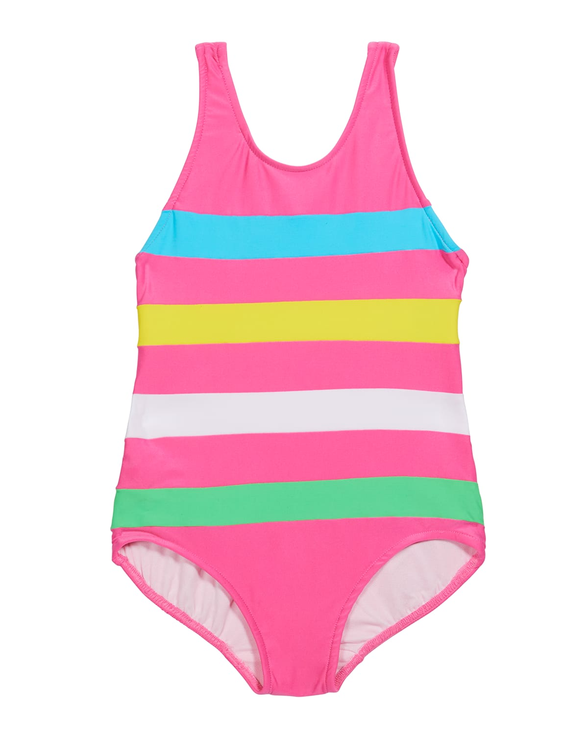 Girl's Colorblock Striped One-Piece Swimsuit