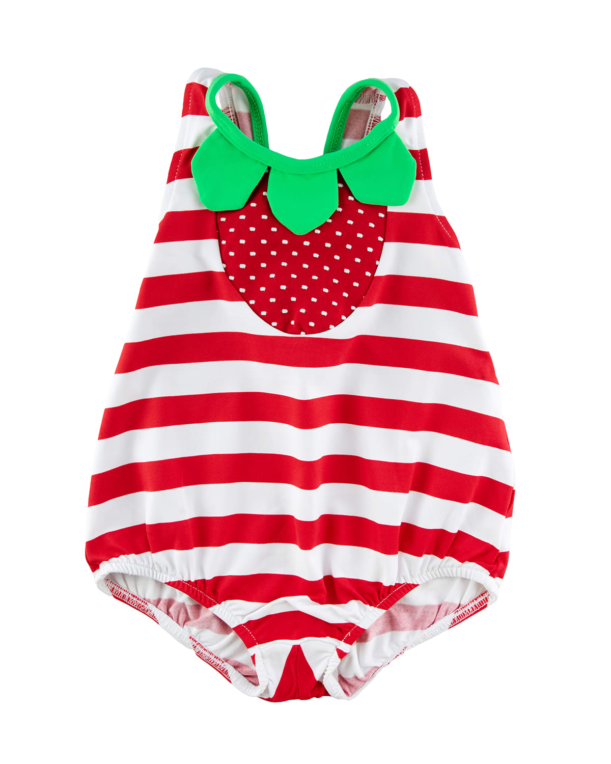 Girl's Striped Strawberry Bubble One-Piece Swimsuit