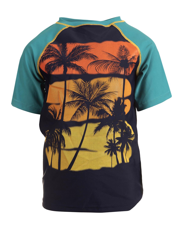 Boy's Tropical Palm-Print Short-Sleeve Rash Guard