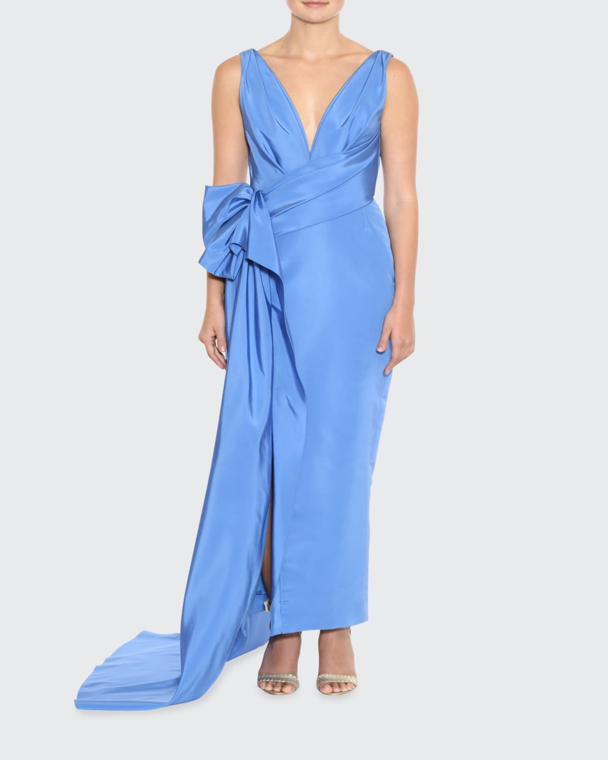Silk Faille Plunging-Neck Draped Column Gown