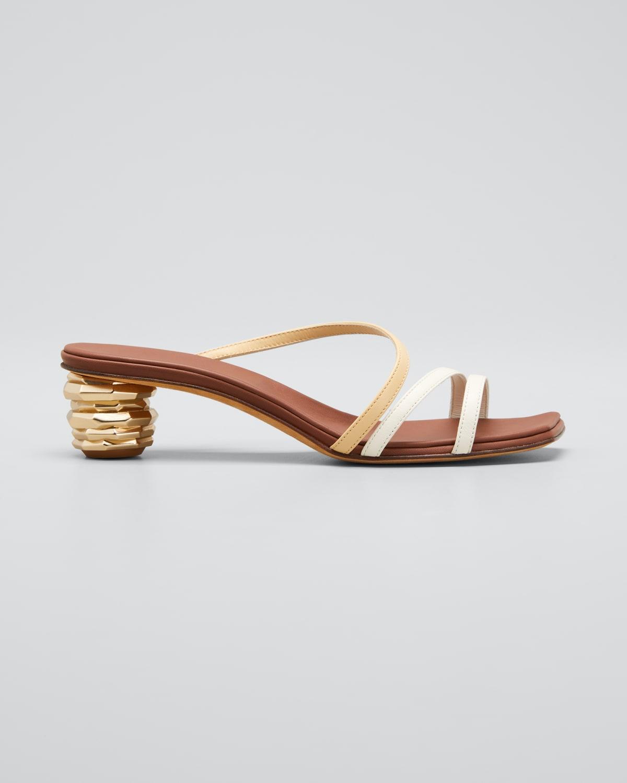 Gemma Geometric-Heel Bicolor Slide Sandals