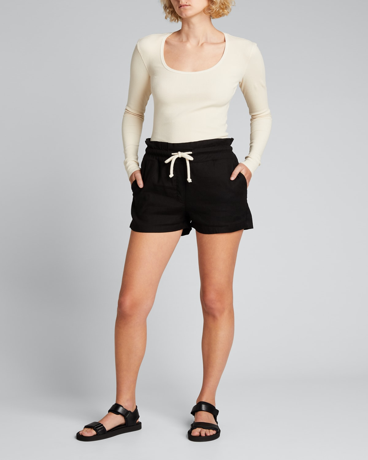 Scoop-Neck Ribbed Long-Sleeve Top