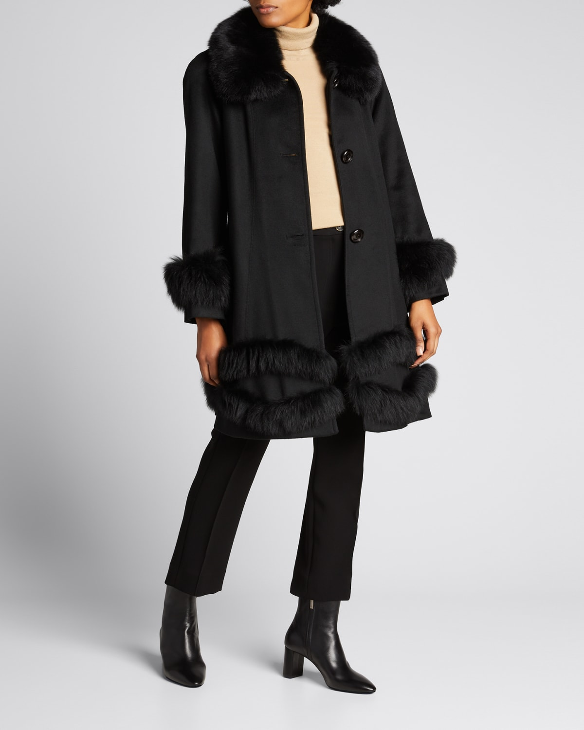 Cashmere Swing Coat with Fox Trim
