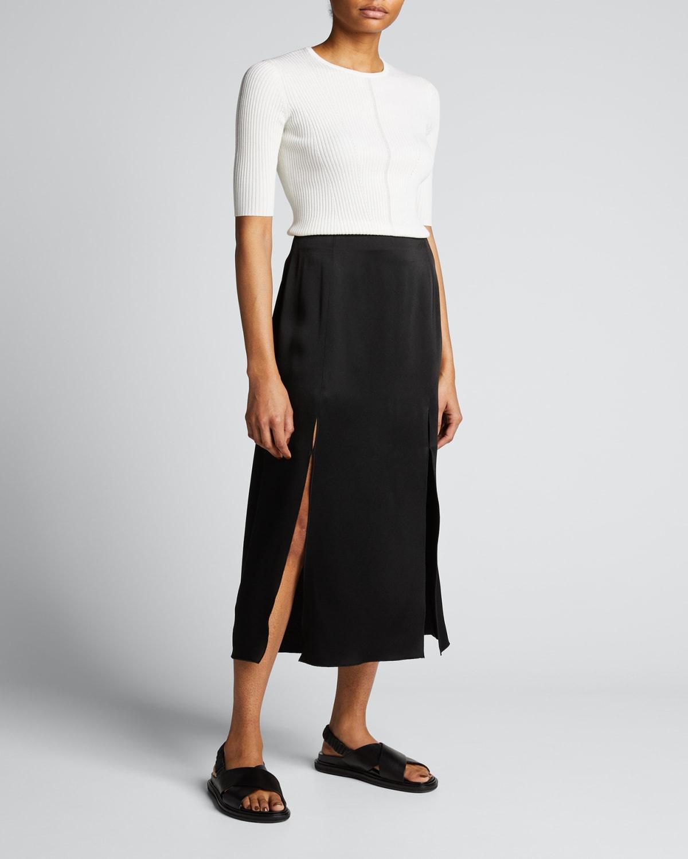 Merino Wool Ribbed-Knit Top