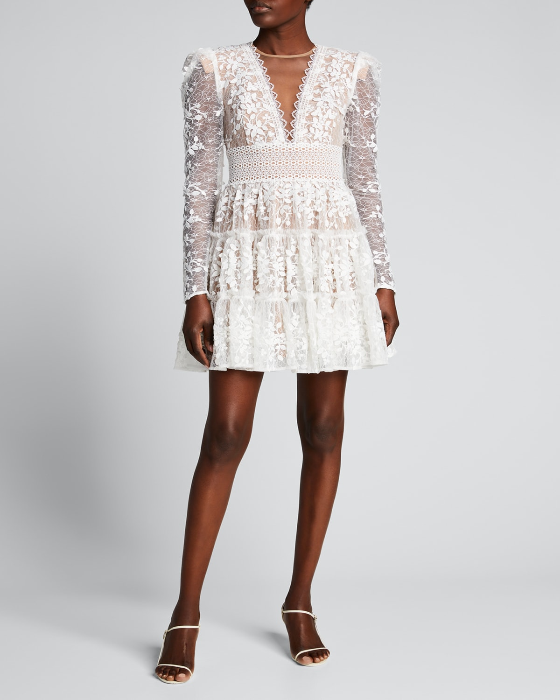 Megan V-Neck Illusion Tiered Lace Dress