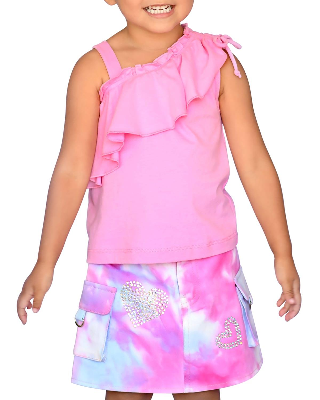 Girl's One-Shoulder Ruffle Chiffon Top