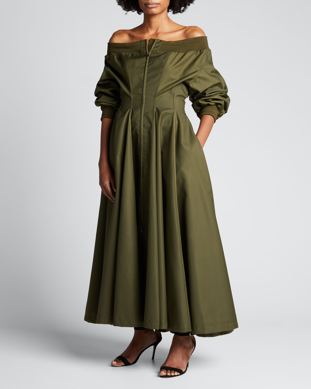 Off-the-Shoulder Taffeta Pleated Dress